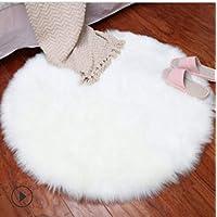 Aomerrt Soft Faux Fur Wool Living Room Sofa Carpet Plush Carpets Bedroom Cover Mattress Xmas Door Window Round Rugs Carpets,white,90X90CM