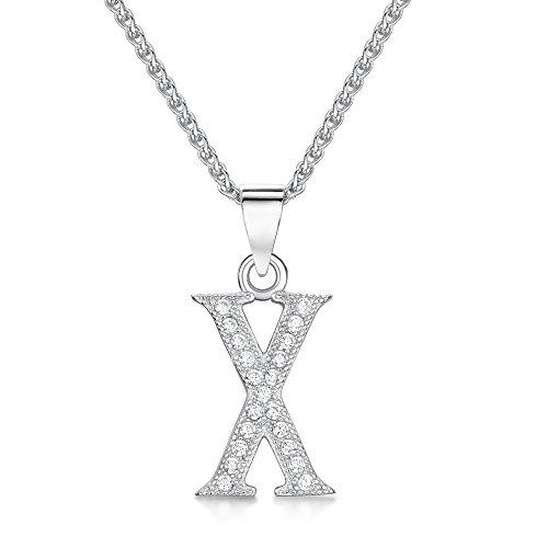 Sólo Jo inicial 'X' plata de ley y circonita cúbica Letra Colgante en 41–46cm cadena de Spiga
