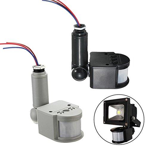 XUJJA Lámpara de luz de pared al aire libre LED PIR Detector de sensor de movimiento de infrarrojos RF AC85V ~ 260V XUJJA (Color : Color Black)