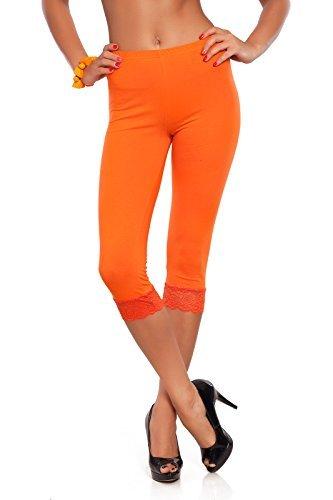 FUTURO FASHION abgeschnitten 3/4 Länge Baumwollleggings mit Spitze alle Farben & alle Größen - Orange, 36