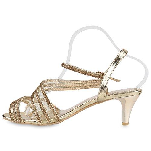 Damen Lack Sandaletten   Stiletto Sandalen Glitzer   Strass Schuhe Party Sommer   Riemchensandaletten Metallic T-Strap Gold Brooklyn