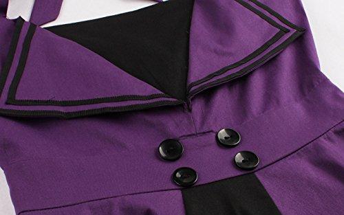 VERNASSA Vintage Années 1950s Robe de Soirée Cocktail Femme Rockabilly Swing, Audrey Hepburn pin-up robe de soirée cocktail, Style Halter années 50 à Pois 1509-Violet