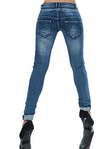 L368 Damen Jeans Hose Boyfriend Damenjeans Harem Baggy Chino Haremshose, Farben:Blau;Größen:34 (XS) -