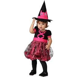 Disfraz bruja rosa para niña, 6-12 meses.