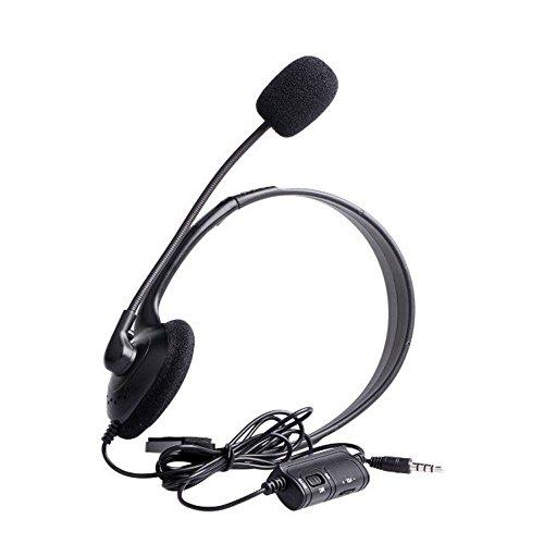 Scharfe Kopfhörer Noise Cancelling (KINGKO Gaming Headset Kopfhörer mit Mikrofon für Sony Playstation 4 PS4 Controller (Schwarz))