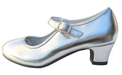 La Senorita Spanische Flamenco Schuhe Prinzessinnen Schuhe Silber (Größe 29 - Innenmaß 19 cm)