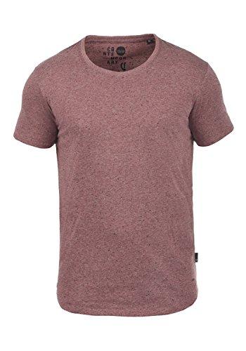 !Solid Thias Herren T-Shirt Kurzarm Shirt Rundhalsausschnitt Brusttasche Aus 100% Baumwolle Meliert Wine Red (0985)