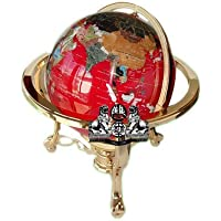 Unique Art 21-Inch Tall Red Lapis Ocean Table Top Gemstone World Globe with Gold Tripod