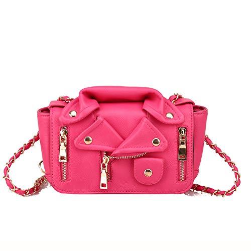 LJSHU Umhängetasche PU Wasserdichte Goldkette Gesteppte Damen Revers Kleidung Lederjacke Tasche Wild Messenger Bag Handtasche,Red