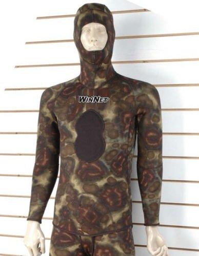 WinNet giacca mimetica di muta per pesca subacquea apnea 5 mm, liscia internamente foderata esternamente