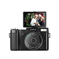كاميرا فيديو Andoer الرقمية عالية الدقة 1080P 24 ميجا بكسل شاشة LCD قابلة للدوران 3.0 بوصة مضادة للاهتزاز 4X زووم رقمي مع مصباح قابل للسحب وفلتر الأشعة فوق البنفسجية