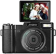 Andoer Digital Camera Vlogging Camcorder Full HD 1080P 24MP Video Camera 3.0 inch Rotatable LCD Screen Anti-sh