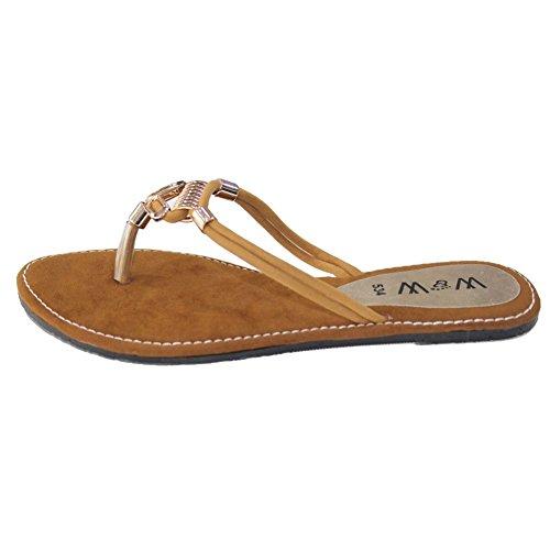 W & W femmes Mesdames Soir antidérapant sur décontracté plat sandales chaussures Confort Taille Marron, Noir (san534) Marron - marron