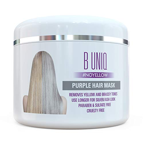 Silber Haarmaske für silbernes & blondiertes Haar – Purple Hair Mask B Uniq no yellow – intensive Haarpflege für trockenes, strapaziertes & geschädigtes Haar – 215 ml