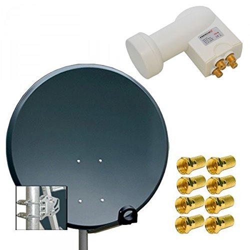 PremiumX Digitale Sat Anlage PXA100 Spiegel Schüssel 100cm Antenne ALU Anthrazit + LNB Quad 0,1dB PXQS-SE Weiß Digital HDTV UHD 4K + 8 x F-Stecker