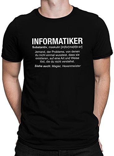 vanVerden Herren Fun T-Shirt Informatiker Wikipedia Job Beschreibung Plus Geschenkkarte, Größe:XL, Farbe:Schwarz