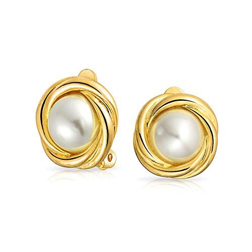 Kabel-Lünette Dome Weiß Simulierten Perle Ohrclips Ohrringe Für Damen Nicht Durchstochene Ohren 14K Vergoldet Messing