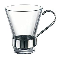 Bormioli Rocco Ypsilon Espresso Cups with Metal Handle, Clear, Set of 6