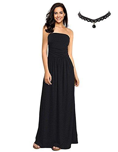 Buoydm donna vestiti lunghi estivi floreale vestito a tubino maxi elegante abito da spiaggia banchetto vacanza,a-nero,l