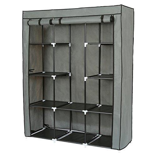 Armadio pieghevole cabina guardaroba con cerniera appendiabiti in acciaio armadio tessuto (grigio, 150x 45 x 166 cm)