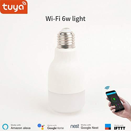 WiFi Smart Led-Lampe, dimmbar und mehrfarbig, kompatibel mit Alexa und Google Home, IFTTT, kein Hub erforderlich (E27,6W)