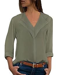 Aleumdr Bluse Damen Langarm Einfarbig V-Ausschnitt Elegante Tunika Casual  Top Locker Langarmshirts mit Knopfleiste 6e1589f3a1