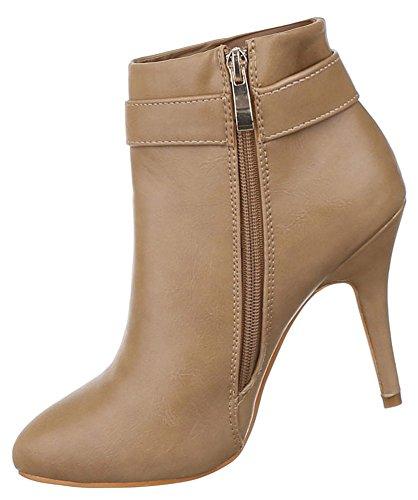 Damen Stiefeletten Schuhe High Heels Ankle Boots Schwarz neonpink beige 36 37 38 39 40 41 Beige