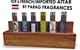 Parag Fragrances 6 In 1 Set Of Real & Natural Attar With Wooden Stand TAG HIM, ONE DAY STAR, BLUE CRYSTALS, THE ROMANTIC, FRENCH MAGNET, ITS ONLY FOR VIP MAN, ALCOHOL FREE & LONG LASTING FRAGRANCE