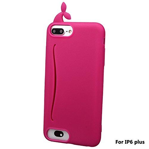 """xhorizon FM8 Silikon-nette Gummi-weiche Wal-Kaninchen-Schwanz-Kreditkarte-Karten-Fall-Abdeckung für iPhone 6 Plus / iPhone 6S Plus [5.5""""] Rose"""