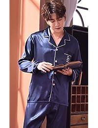 lxylllzs Pijama Largo 2 Piezas Talla Grande,Pijamas de Pareja de Manga Larga de Primavera y otoño, Servicio de hogar de Bodas de Seda de Hielo -XXXL_male1,Mujer Ropa de Dormir Cuello Redondo