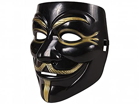 Guy Fawkes Maske schwarz gold | V wie Vendetta | Anonymous | Cosplay | Halloween (Anonymous Hacker Kostüm)