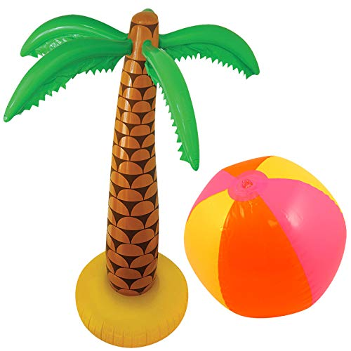 Palme mit Strandball Luau Hawaiian Tropical Summer Party Set ()