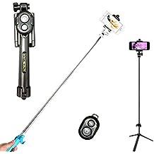 GCBTECH Selfie Stick con trípode, 3 en 1 Teléfono móvil adaptador, Palo para selfies, Monopod Foto de control remoto Bluetooth para iPhone, Android, Samsung y otros smartphones (negro)