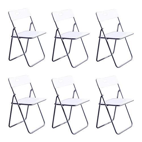 FENGFAN-Klappstuhl Kunststoffsitzlehne Stuhl Büro Computer Tisch Stuhl Metallrahmen Mondern Furniture (Farbe : Weiß)