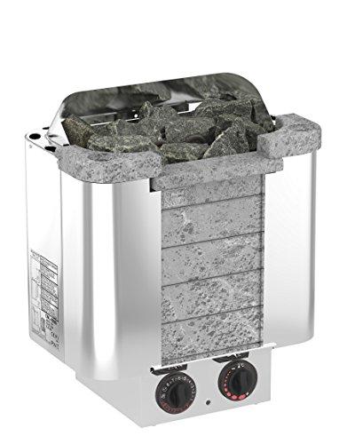 SAWO CUMULUS 6,0 kW Elektrische Saunaofen; mit integrierte Steuerung (NB-Modell); Multispannung: entweder Einphasig oder 3-Phasig; Edelstahlgehäuse mit Speckstein vorne