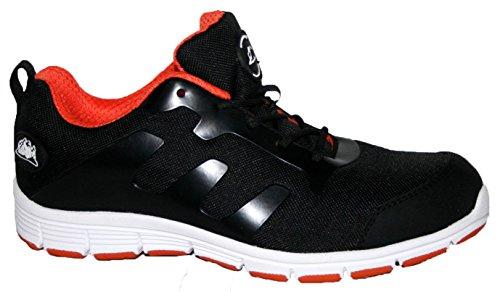 Groundwork- Scarpe da ginnasticae da lavoro ultra leggere, con puntale di sicurezza in acciaio, da uomo, decorate in finto pizzo Black/orange