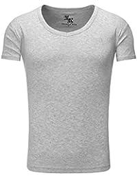 T-shirt Chemise Young & Rich Homme V-cou V-Neck Gris Broderie Hommes camaïeu Manche courte