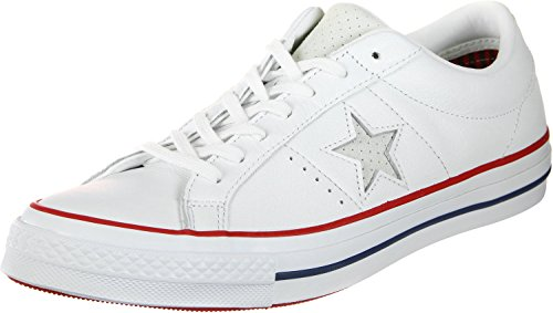 Image of Converse Chucks 160624C Weiss One Star OX White Gym Red, Groesse:44 EU/10 UK/10 US/28.5 cm