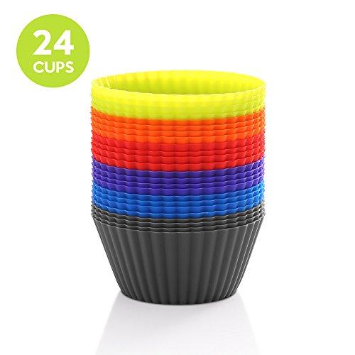 Zanmini moldes de silicona (Set de 24)capsulas para cupcakes magdalenas y Cupcakes antiadhérent y apilables para almacenaje fácil/silicona alimentaria/sin BPA/lavable en el lavavajillas