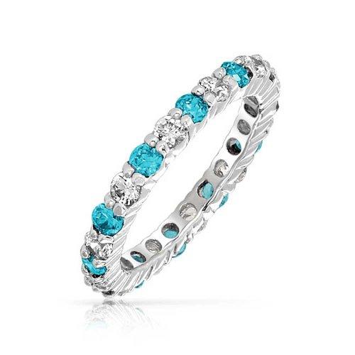 Weiß Abwechselnden Stapelbar Cz Ring Simulierten Topaz 925 Sterling Silber März Monat ()