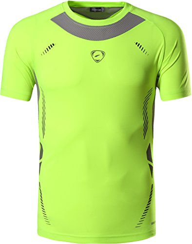 jeansian Herren Sportswear Quick Dry Short Sleeve T-Shirt LSL133 LSL3225_GreenYellow