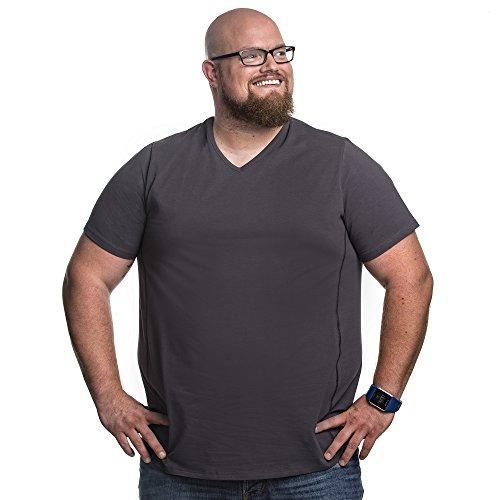 Alca Fashion 7XL T-Shirt für Männer mit Übergröße Bauchumfang Herren V-Hals Basic Tshirt Übergrößen 7XL-B (für Bauchumfang 162-169 cm) Grau -
