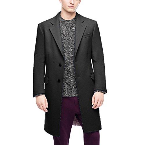 Mâle Hiver Cachemire Manteau De Laine Dans La Longue Section Manteau Black