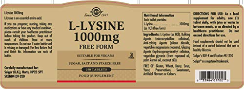 LYSINE 1000MG TABLETS 250C