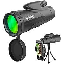 Yasolote Monocular Telescopio 12X50 HD con Prisma BAK4 Catalejo Impermeable para Teléfono Móvil Diseño de Prismatico