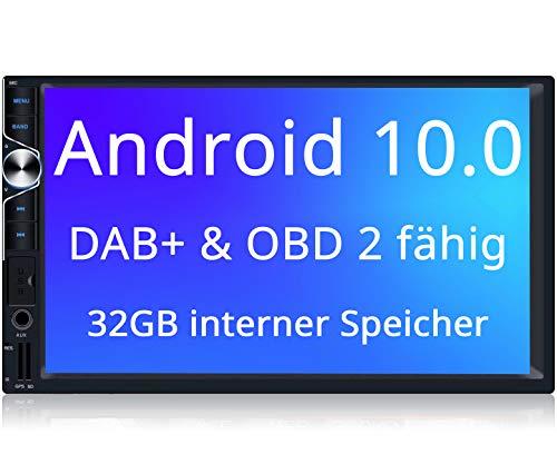 Tristan Auron BT2D7025A Autoradio mit Android 10.0, 7\'\' Touchscreen Bildschirm, GPS Navi, Bluetooth Freisprecheinrichtung, Quad Core, MirrorLink, USB/SD, OBD 2, DAB+, 2 DIN