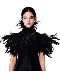 LVOW Gótico Victoriano Mantón de las plumas Chales Cabo Estolas Con Collar Decoración Para