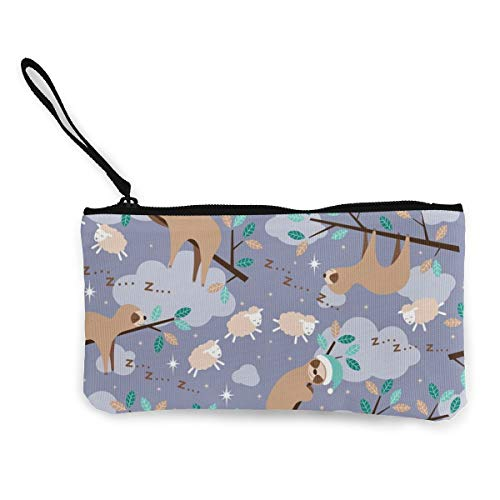 Bedtime Sloth Multifunctional Portable Canvas Coin Purse Phone Pouch Cosmetic Bag,Zippered Wristlets Bag