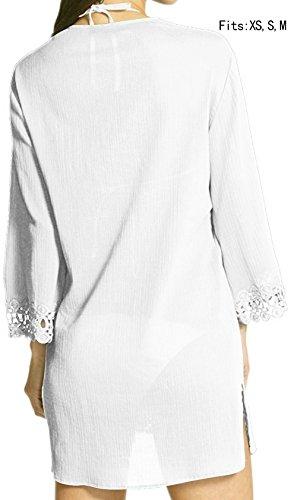 Angerella Damen Strandkleid Pareos & Strandkleider Streifen Bikini Kittel Weiß