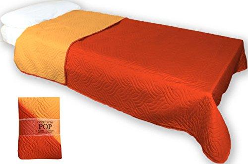 Telo arredo copridivano 3 posti copriletto copritutto tinta unita trapuntato misura 2 piazze matrimoniale cm 250x250 colore arancio mandarino double face